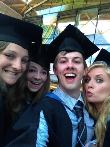 Me and my housemates, ready for the ceremony (yep, my hat was briefly the wrong way - luckily only about 5 minutes between sorting myself out before the ceremony then sitting down and my classmate next to me telling me it was the wrong way round... Thanks again, Katherine!)