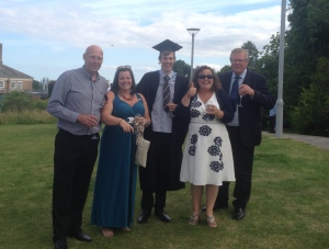 The northern crew! My stepdad, my mum, me, Gilly and my dad. What a crazy bunch they are, but the day wouldn't have been complete without them!