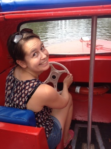 Beth driving the boat!