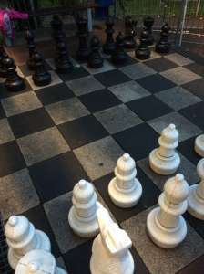 Giant chess on a balcony and I, er, let Axel win...