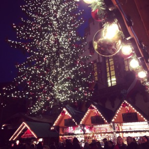 The Christmas market in Frankfurt.