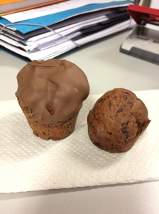 Chocolate Orange muffin and the same without.