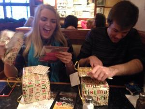 Excitedly opening our presents in Frankie & Benny's.