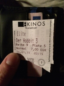14/01 - Cinema trip to see the third Hobbit film. It wasn't that great...
