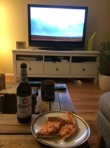 16/01 - Home alone meant beer and pizza.