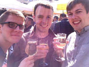 """18/04 - """"I'll just have one glass"""", he naively says. Day spent at the wine stall at the Konstablerwache Markt."""