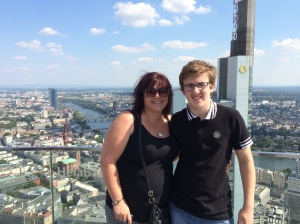 Mum and happy-looking Adam on top of the Main Tower.