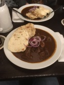 Ending the day with some tasty goulash and dumplings.