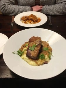 The Chicken Paprikash (at the back) and spare ribs on mash potato and cabbage.