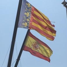 The Valencian and Spanish flag