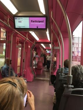 A very pink tram